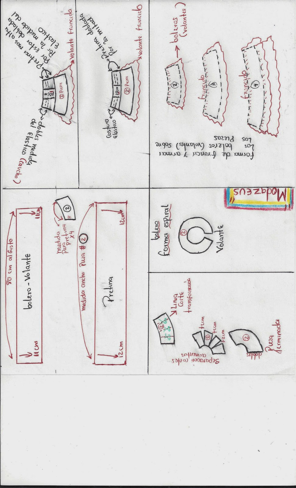 diferentes formas de hacer esta falda con boleros