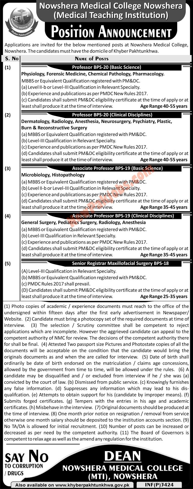 Nowshera Medical College And DHQ Teaching Hospital Latest jobs 2018