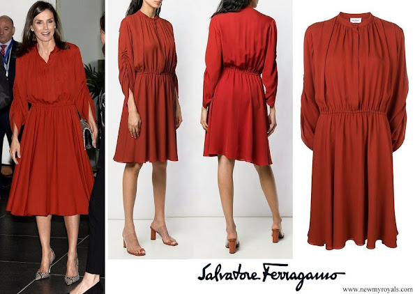 Queen Letizia wore SALVATORE FERRAGAMO long sleeve flared midi dress