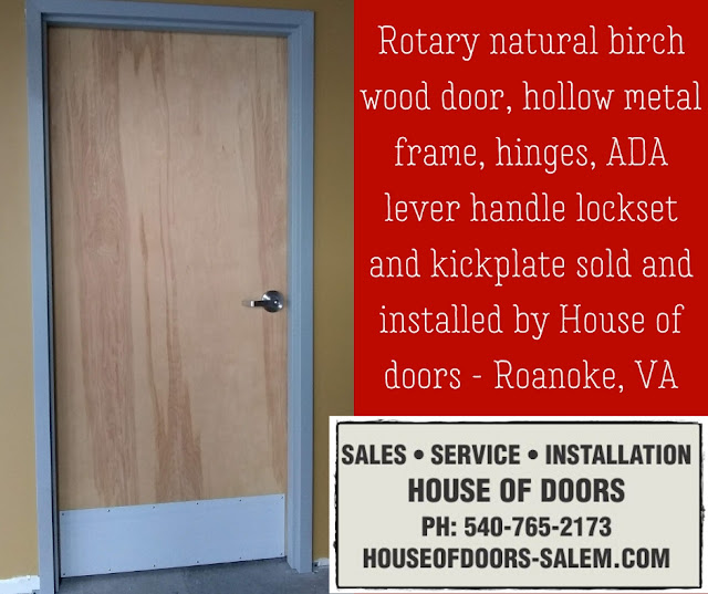 Rotary natural birch wood door, hollow metal frame, hinges, ADA lever handle lockset and kickplate sold and installed by House of doors - Roanoke, VA