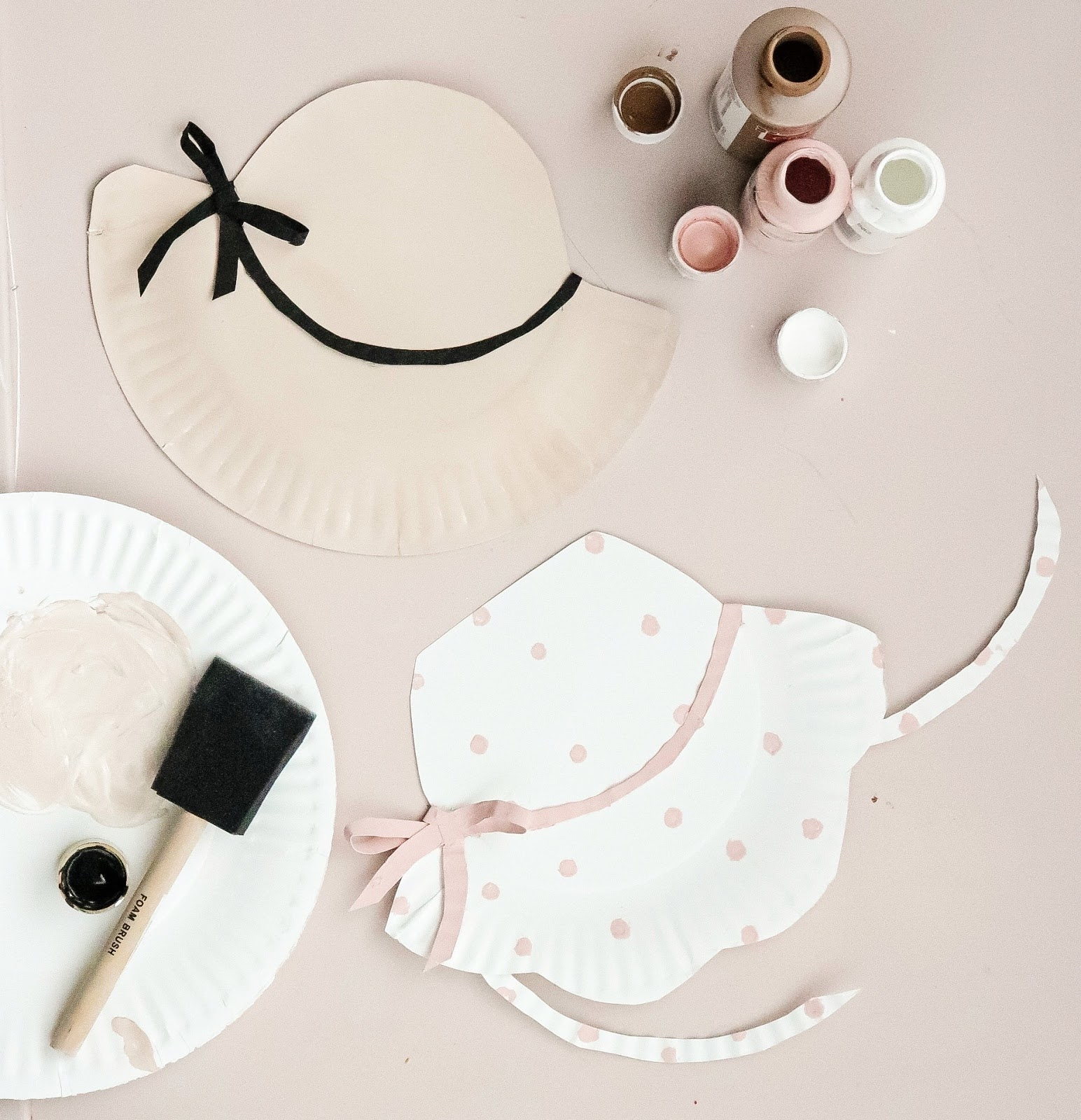 paper plate craft girls summer hats