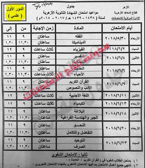 جدولَ امتحانات للشهادة الثانوية الأزهرية، الصف الثالث الثانوى 2017/2018 _(اخر العام)