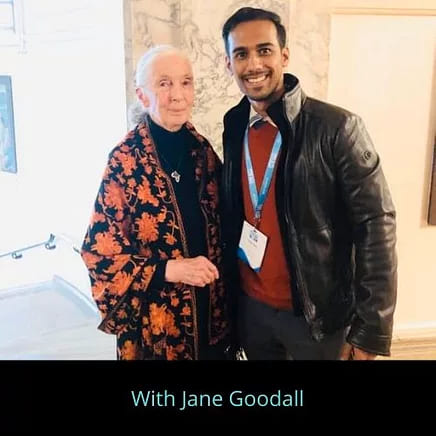 Pratik Gauri with Jane Goodall