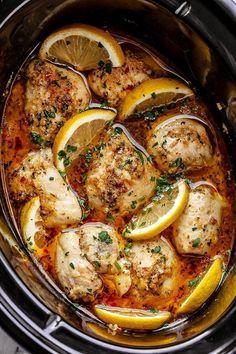 Crock Pot Lemon Garlic Butter Chicken