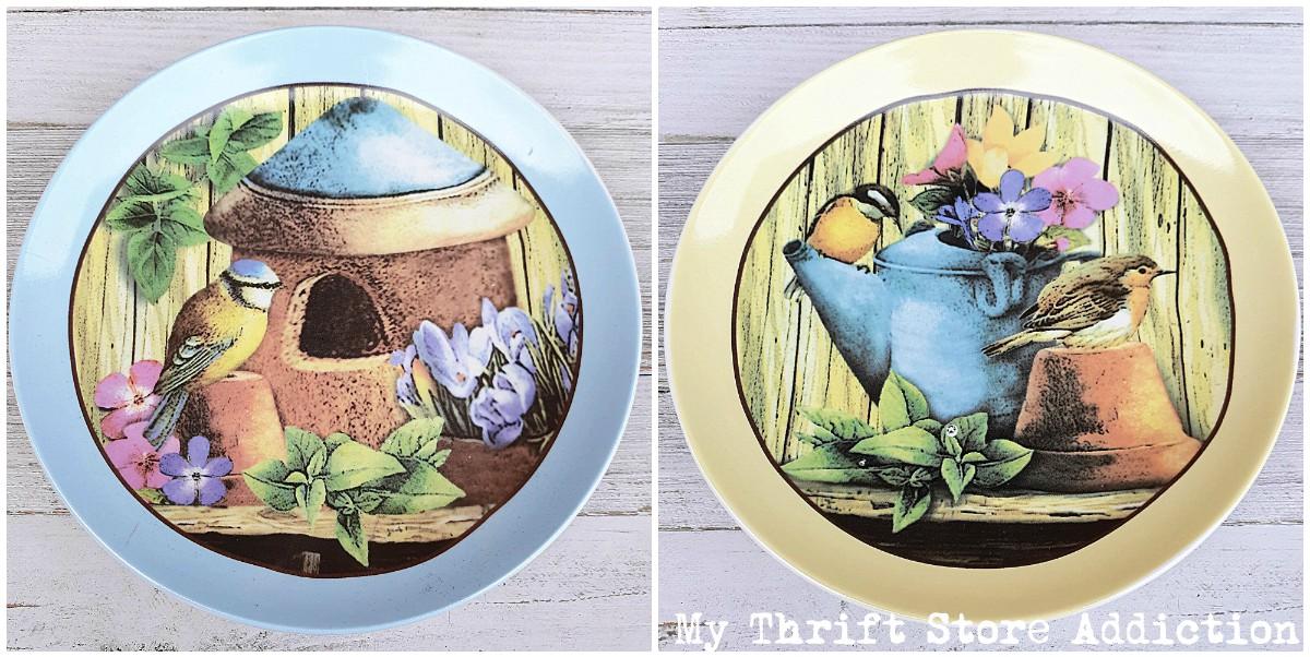 garden inspired bird plates