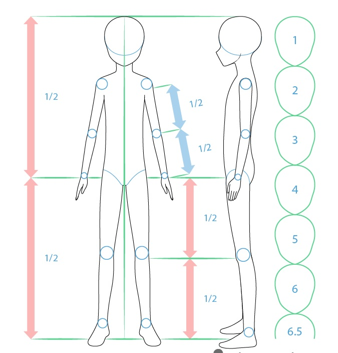 Proporsi tubuh anime boy menggambar