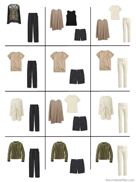 a dozen outfits from a 16-piece wardrobe in black, ivory, taupe and sage green
