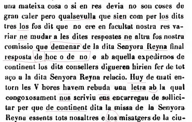 resposta de hoc o de no e ab aquella expedirnos de continent los dits consellers digueren hirien fer de tot aço a la dita Senyora Reyna relacio.