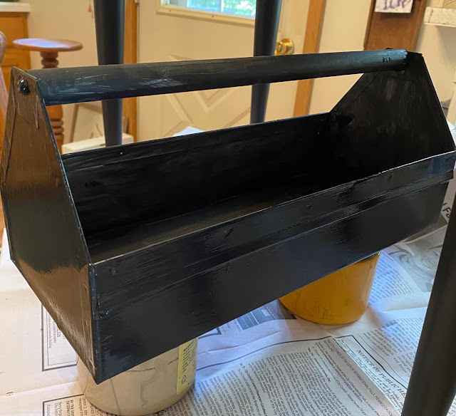 Photo of a metal toolbox painted in black.