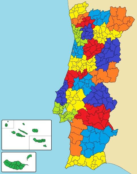 mapa de portugal com distritos e concelhos Entenda a divisão do estado português   Conexão Portugal mapa de portugal com distritos e concelhos