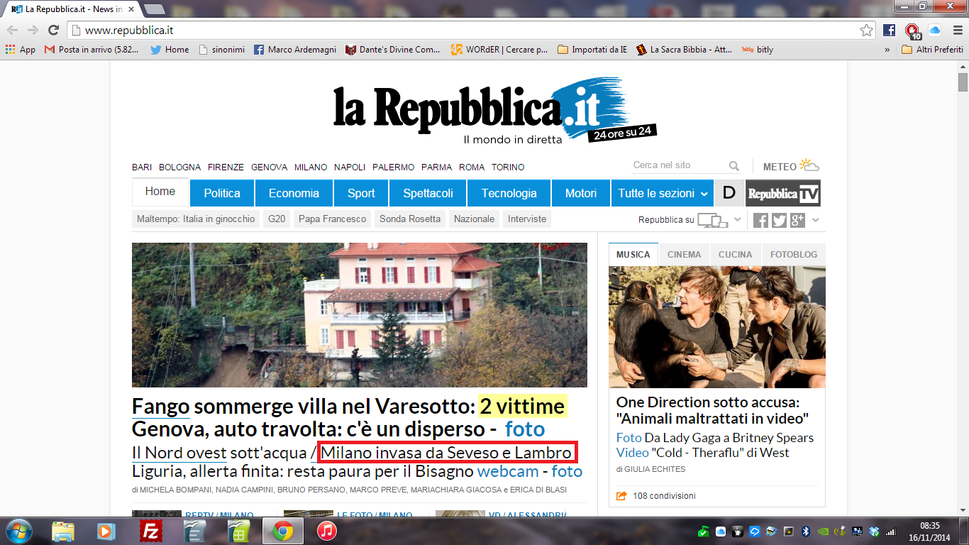 Anything goes l 39 onda vissuta e l 39 onda percepita for Repubblica homepage it