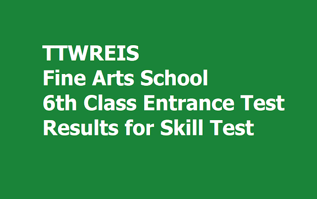 TTWR Fine Arts School 6th Class Entrance Test Results for Skill Test (TS Gurukulam - TTWRIES)