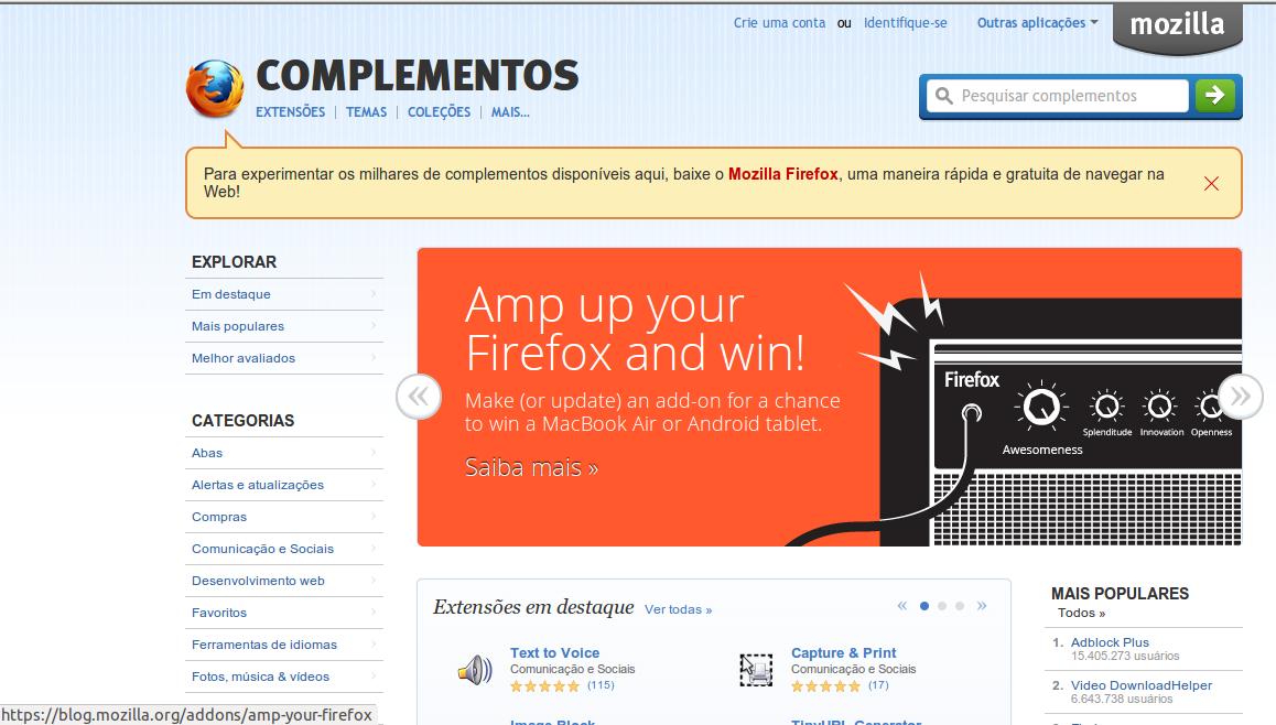Firefox + 4 complementos se torna o melhor programa para se fazer