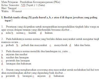 Soal UKK UAS PKN Kelas 7 SMP Semester 1