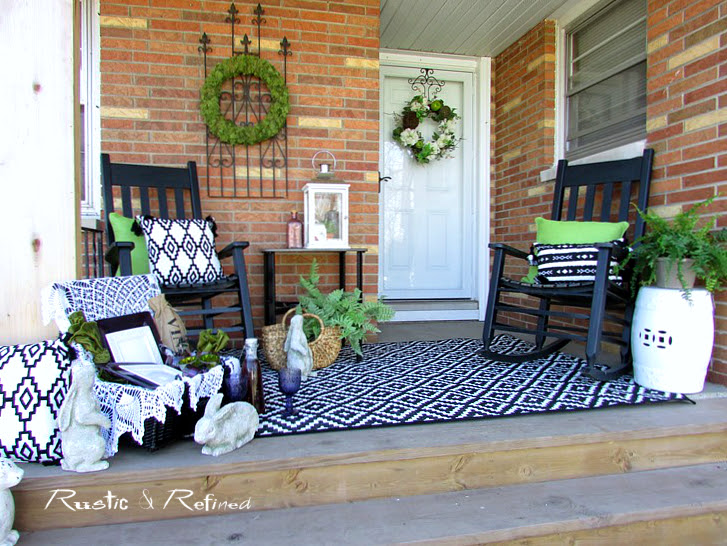 farmhouse porch decorated for spring 2017