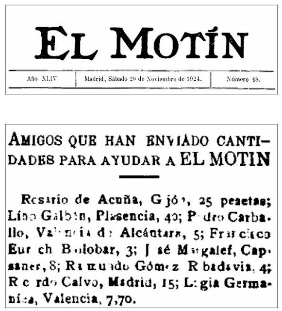 Relación de donantes y cabecera de El Motín del 29-11-1924