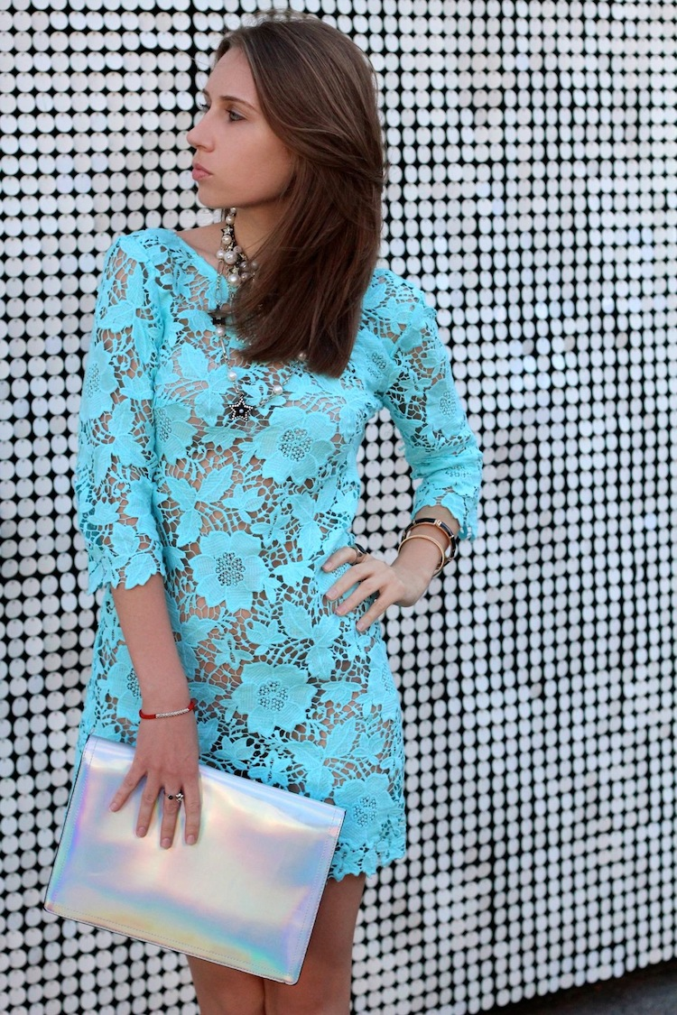 fba29eed ... this see-through lace dress from Topshop, especially in turquoise  color. I paired it with a metallic clutch and red sandals for a glam night  out look.