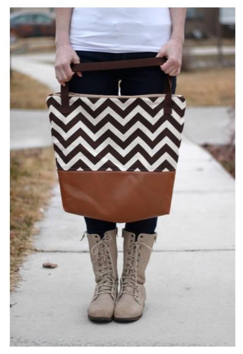 Leather Chevron Print Tote Bag