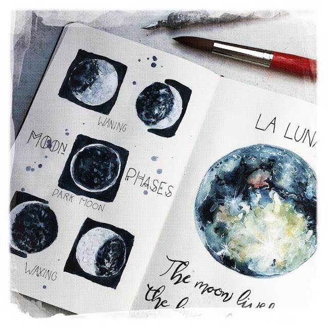 Sketchbook Challenge Galia Alena, mixed media moleskine moon painting