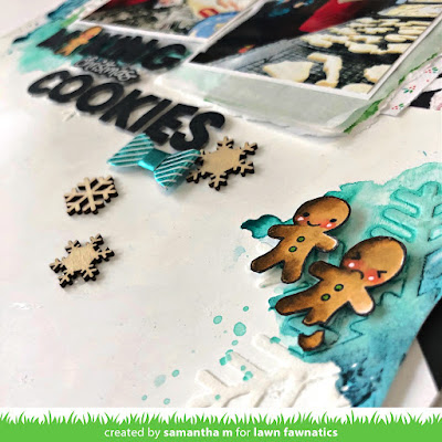 Making Christmas Cookies Layout by Samantha Mann, Lawn Fawn, Lawn Fawnatics, Scrapbooking, Mixed Media, Watercolor, Stencil, Embosisng Paste, gesso, Scrapbook layout #lawnfawn #lawnfawnatics #scrapbook #layout #mixedmedia #watercolor