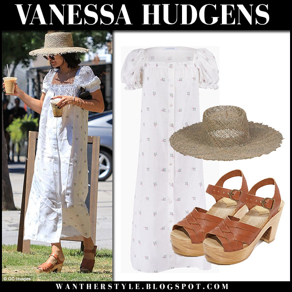Vanessa Hudgens in white printed maxi dress sleeper and sandals celebrity street fashion september 16