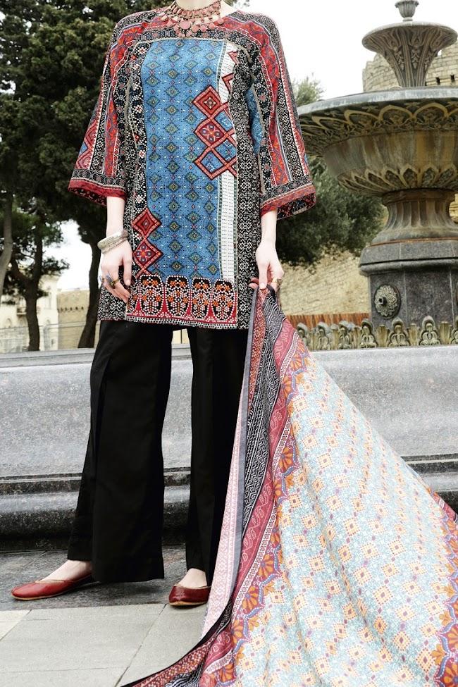 Almirah Blue color lawn suit Eid collection