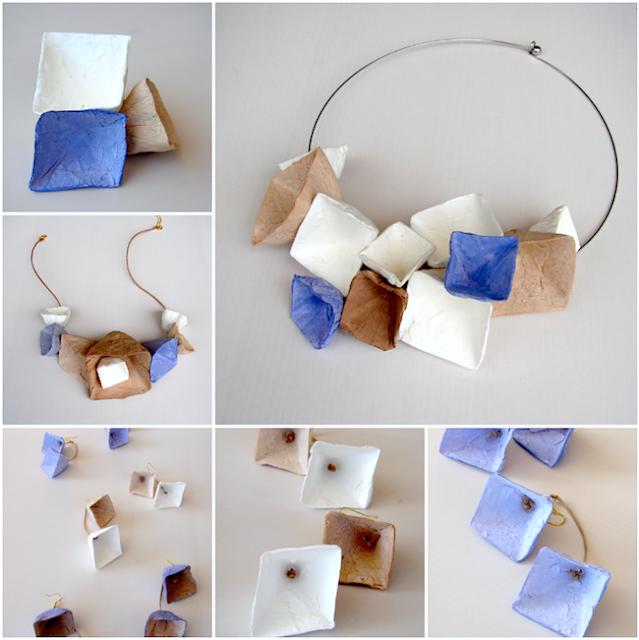 collane, orecchini e anelli di carta stile geometrico di Alessandra Fabre Repetto