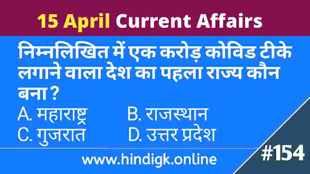 15 April 2021 Current Affairs In Hindi