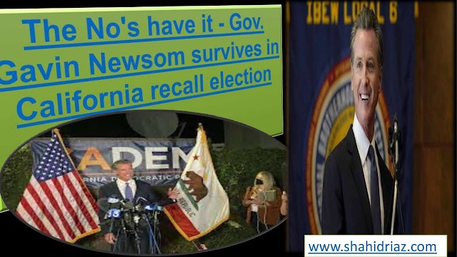 The No's have it - Gov. Gavin Newsom survives in California recall election in 2021