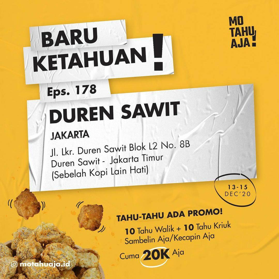 MO TAHU AJA Duren Sawit Opening Promo Paket 20 Tahu cuma Rp 20.000