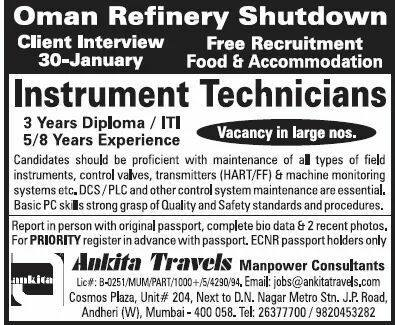Oman Refinery Shutdown Jobs