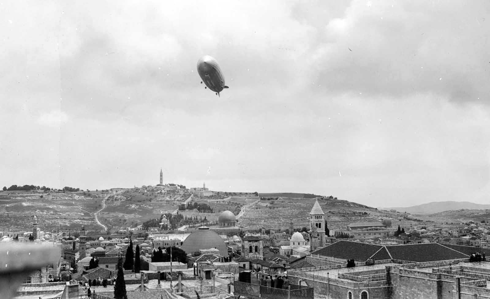 The Graf Zeppelin over the old city of Jerusalem, April 26, 1931.