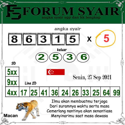 Forum Syair SGP Senin 27 September 2021