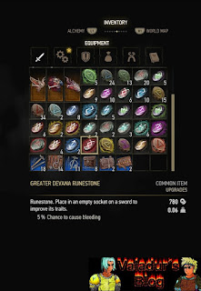 Inventory screen from Witcher 3 with runestones