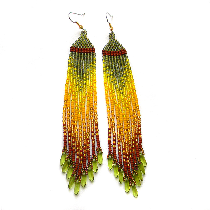 Long seed bead earrings - beadwork jewelry- fringe beaded earrings