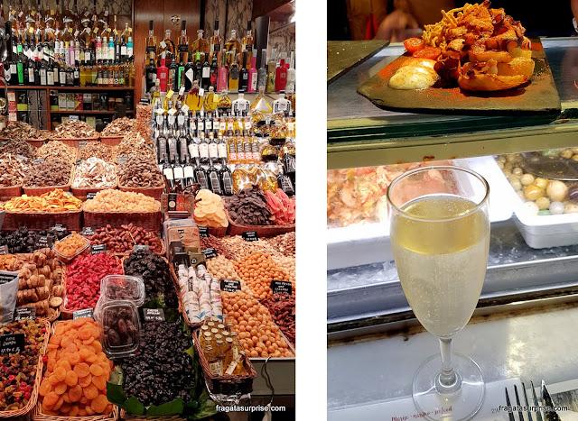Barraca de frutas secas e o balcão de um restaurante do Mercado da Boqueria, Barcelona