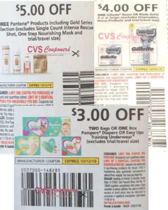 pantene, pampers and gillette coupons