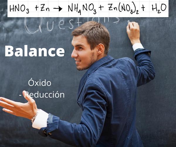 REDOX: HNO3 + Zn → NH4NO3 + Zn(NO3)2 + H2O [SOLUCIÓN]