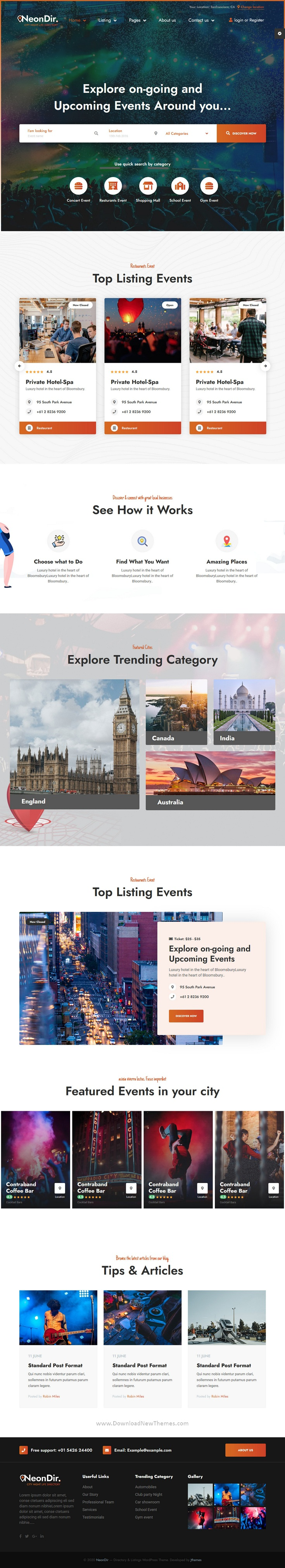 Event Directory Listing WEbsite Template