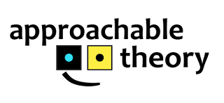 "The approachable theory logo, with the text ""approachable theory"" and an image of two six-sided dice with one pip showing, with a curved line below it to make a smile. The dice are black with cyan for the pip and yellow with black for the pip."