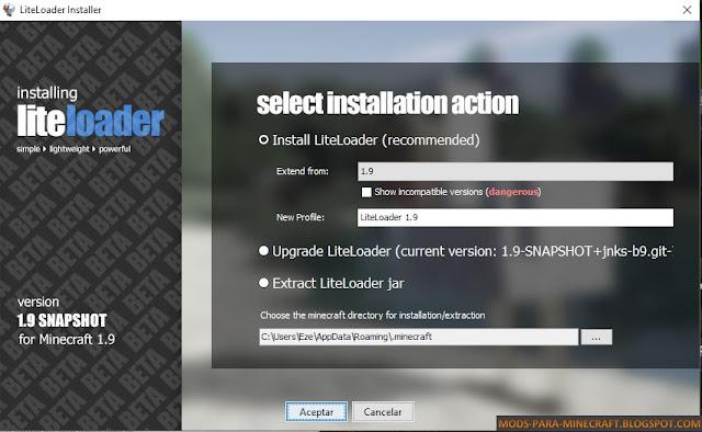 LiteLoader (Snapshot) Mod para Minecraft 1.9