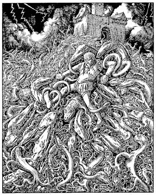a Joseph Kaspar Sattler 1800s illustration of a man in a mass of lizard creatures