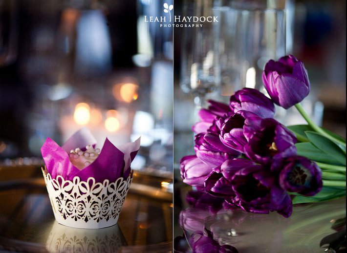 mariage violet decoration de table
