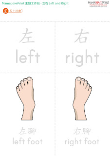 Mama Love Print 自製工作紙 - 認識左和右 幼稚園常識工作紙 Learning Left and Right Worksheets Printable Freebies Activities Funny Kindergarten Daily Practice No Preparation