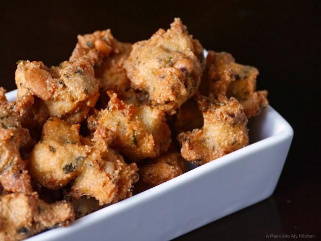 Rava Mint and Cashew Pakoda / Semolina Mint and  Cashew Fritters ~ Day 36