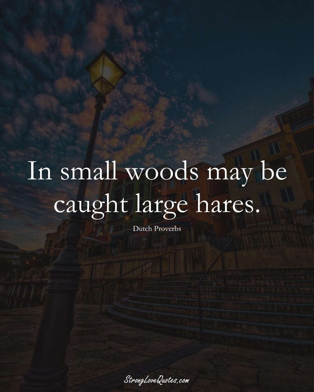 In small woods may be caught large hares. (Dutch Sayings);  #EuropeanSayings