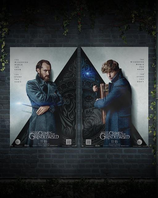 Pôster AT&T de 'Os Crimes de Grindelwald' | Dumbledore e Newt | Ordem da Fênix Brasileira