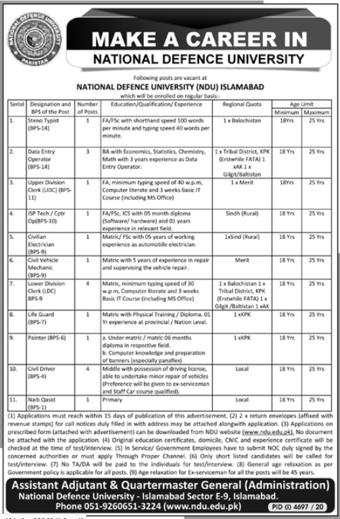 National Defence University NDU Management Jobs 2021 for Stenotypist, Data Entry Operator, Upper Division Clerk, USP Technician and more