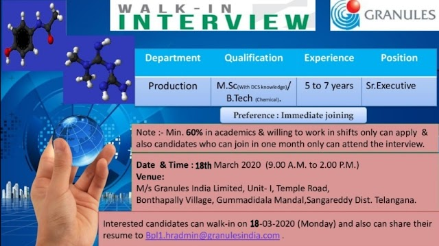 Granules | Walk-in for Production at Hyderabad on 18 Mar 2020
