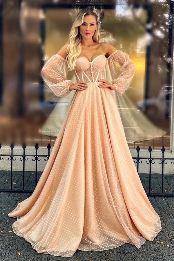 vestido de festa longo com corpete e mangas em tule de poas